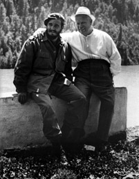 Nikita Khrushchev (right) with Fidel Castro
