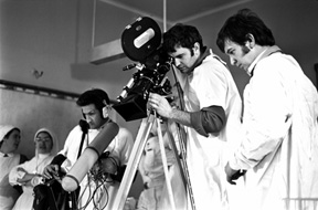 DOP Bruce McNaughton with asst c/man Gary Wapshott and sound recordist John Phillips, filming a scene at the Royal Women's Hospital, Melbourne