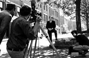 Director John B. Murray and DOP Bruce McNaughton filming an interview with newspaper columnist Keith Dunstan for The Naked Bunyip