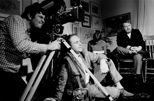 Filming at Geoff Goldie's life class studio for The Naked Bunyip. From right to left: Phillip Adams (executive producer), John B. Murray (director & producer) and Bruce McNaughton (director of photography).