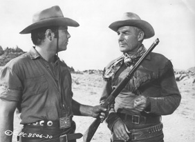 Randolph Scott and Pernell Roberts in Ride Lonesome