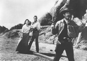 Randoph Scott, Maureen O'Sullivan and Richard Boone in The Tall T
