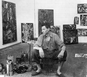 Nicolas de Staël in his studio, rue Gauguet, Paris, 1947. Photo: Edith Michaelis