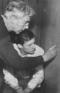 Robert Bresson directing François Leterrier for Un Condamné à mort s'est échappé ou Le Vent soufflé où il veut (1956)