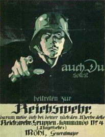 A recruiting poster for the German Reichswehr (National Defence). Image borrowed from Olive-Drab Online, artist unknown.