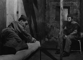 Charles Bitsch and Claude Berri as soldiers in Les Bonnes femmes (1960) in a scene that was cut after the film's avant-première, and subsequently restored for the film's 40th anniversary in 2000.