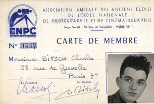 Charles Bitsch's card from the E.N.P.C. (Louis Lumière School).