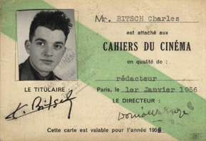Charles Bitsch's card as critic for Cahiers du cinéma.