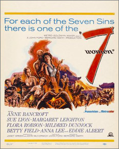 A salacious marketing angle for the 7 Women one-sheet. Academy of Motion Picture Arts and Sciences, Margaret Herrick Library, Core Collection.