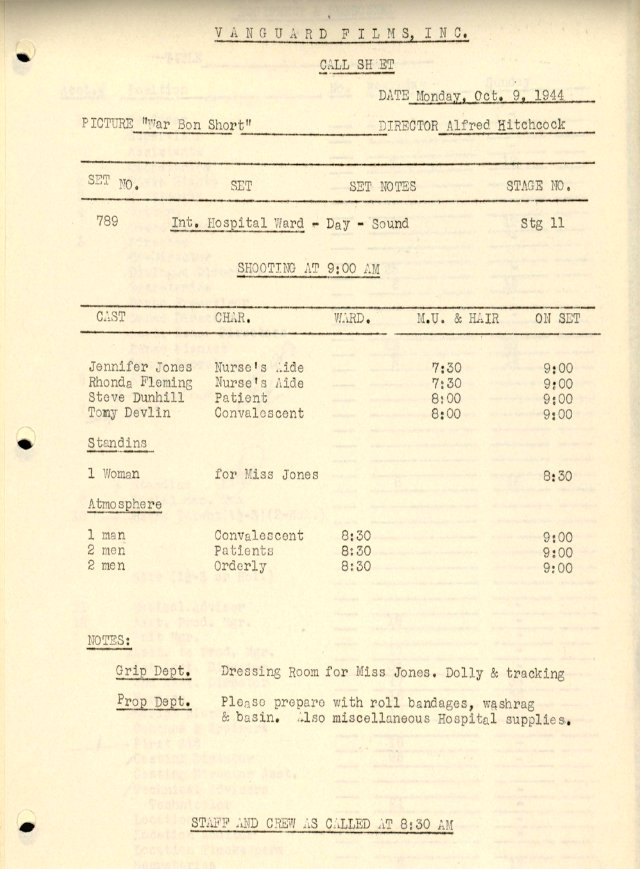 Vanguard Films call sheet. © Copyright Harry Ransom Center, The University of Texas at Austin