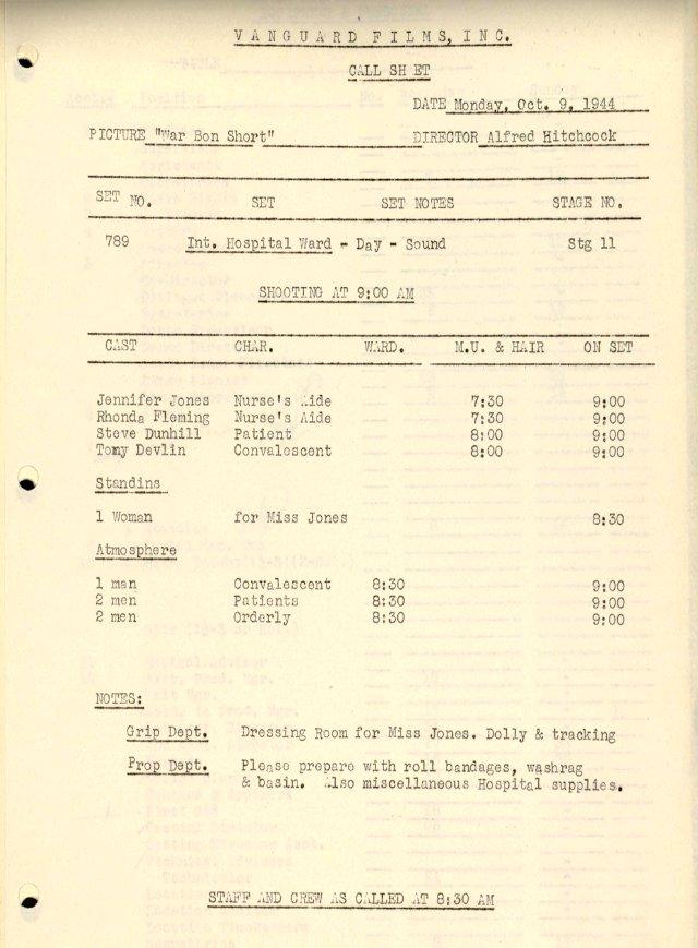 Vanguard Films call sheet. © Copyright Harry Ransom Center, The University of Texas at Austin