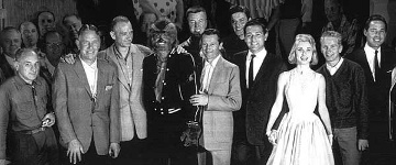 Herman Cohen (4th from the right) with I Was a Teenage Werewolf cast and crew members