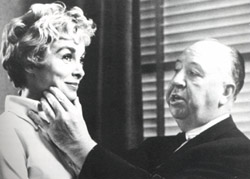 Hitchcock and Janet Leigh on the set of Psycho