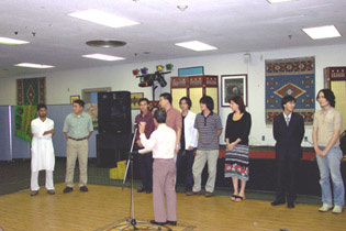 The First World Student Film Festival awards presentation. Third from right is Australian director, Cate Shortland. First prize winner Takahiro Kobayashi is on the extreme right.