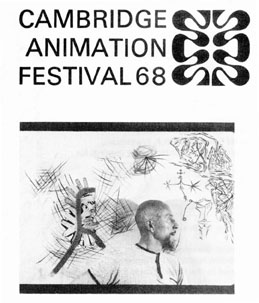 Lye standing in front of his painting 'The King of Plants meets the First Man' from the Cambridge Animation Festival program leaflet