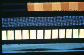 Film Strips from Color Cry. 3 minutes 16mm colour. Courtesy of the Len Lye Foundation. Photographer: Bryan James, Govett-Brewster Art Gallery