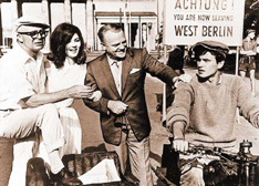 Billy Wilder with One, Two, Three stars Pamela Tiffin, James Cagney and Horst Buchholz
