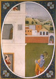 Restlessness of Love, a Kangra miniature painting with Radha and Krishna as witnessed by two Sakhis