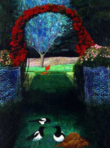Rose Hedge with Magpies and Molehill (painting by Christiane Kubrick)