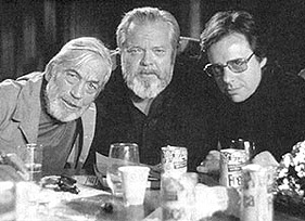 John Huston, Orson Welles and Peter Bogdanovich on the set of The Other Side of the Wind