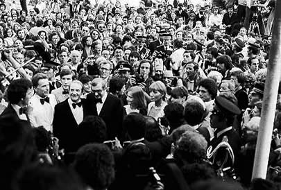 Cannes 1978. Jean Carmet, Claude Chabrol, Isabelle Huppert and Stéphane Audran arriving at the Palais.
