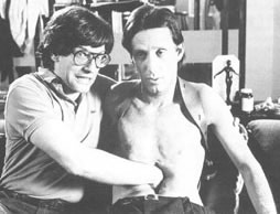 David Cronenberg and James Woods on the set of Videodrome