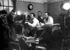Chabrol (in front of camera) on set of Le Beau Serge