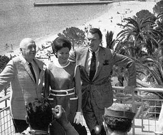 Otto Preminger with Gene Tierney and Walter Pidgeon at Cannes in 1962.
