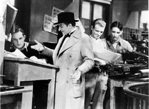 Le Crime de Monsieur Lange: publisher Batala (Jules Berry) demands more blood from his illustrator (Jean Dasté)