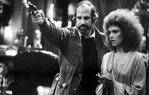 Brian De Palma and Mary Elizabeth Mastrantonio in Scarface