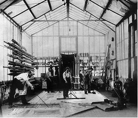 Méliès (left) in his studio