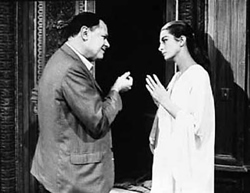Mankiewicz and Capucine on the set of The Honey Pot