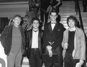 Paul Cox (director) Aleksi Vellis (Director), Simon Rogers (actor), and Mark Poole (writer/director) on the steps of the National Theatre, St Kilda.