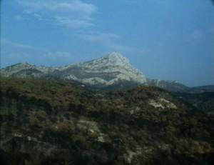 Mont Sainte-Victoire, still from Straub-Huillet film, <i>Cézanne</i>, 1989.