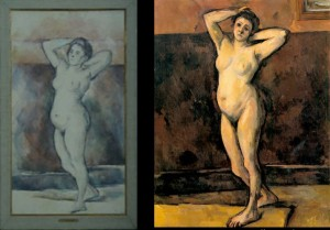 "(l) Cézanne, ""Standing Nude"", 1898-99, Louvre. (r) Cézanne, ""Standing Nude"", 1898-99, Private Collection."