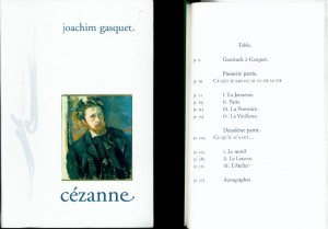 Cover and Table of Contents from Joachim Gasquet's <em>Cézanne</em> (Paris: Encre Marine, 2002).