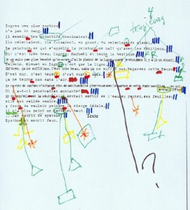Page from Straub-Huillet script for <em>Une Visite au Louvre</em>.