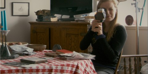 Fig 1. Sarah Polley filming with a Super 8 camera in Stories We Tell