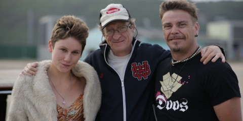 Filmmaker Andrew Worsdale with his actors, Cara Roberts and Brandon Auret