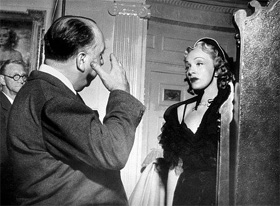 Alfred Hitchcock directing Marlene Dietrich for Stage Fright