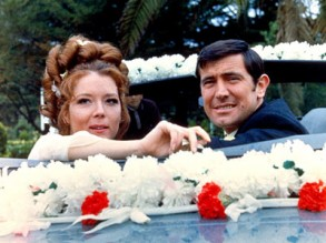 Tracy (Diana Rigg) and James Bond (George Lazenby) in On Her Majesty's Secret Service
