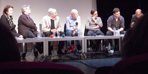 Round-table discussion. From left to right: Marie-Christine Questerbert, Richard Copans, Jean Narboni, Luc Moullet, Fabrice Revault d'Allonnes, Emmanuel Burdeau, and Roger Rotmann of the Centre Pompidou.