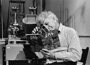 Photo by Charles Levi. I structured the image to speak about Nick, rather than giving him space to reveal himself. He's by a moviola, reading Zap Comix, eye-patch and magnifying-glass to the fore, and one of his beloved Disques Bleus in his mouth. He felt that the beat of the moviola engine was an important determinant in the cutting rhythm of Hollywood films, whilst, when he first went to Hollywood, he used to hang out with film editors discussing the visuals of forties comic strips.