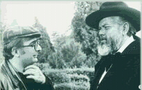 Chabrol and Welles filming La Decade prodigieuse