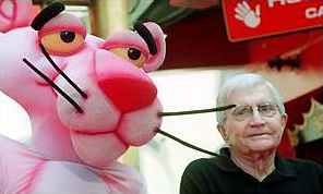 Blake Edwards (right) and Pink Panther