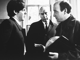 Lester (right) on the set of A Hard Day's Night